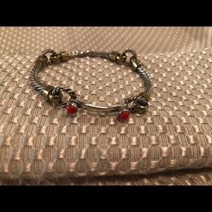Silver rope bracelet with accent gold and red